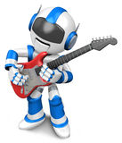 Blue robot to play the electric guitar Stock Image