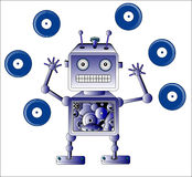Blue robot toy with Vinyl records. Over white Royalty Free Stock Photo