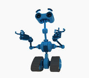 Blue robot on tracks Royalty Free Stock Images