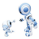 Blue Robot Training. A conceptual image of a blue colored parent robot training a baby robot, on a white background Stock Images