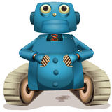 Blue robot with wheels Royalty Free Stock Photography
