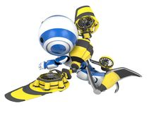 Blue Robot Yellow Rocket Pack Royalty Free Stock Images