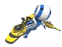 Blue Robot Yellow Rocket Pack Royalty Free Stock Photo