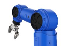 Blue robotic arm. 3d rendering blue robotic arm on white background vector illustration