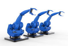 Blue robotic arms. 3d rendering blue robotic arms in a row on white background Stock Images