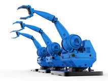 Blue robotic arms. 3d rendering blue robotic arms in a row on white background Royalty Free Stock Photography