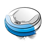 Blue robotic vacuum cleaner Stock Photography