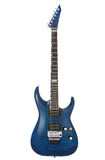 Blue rock guitar. Isolated on white Royalty Free Stock Photography