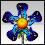 Blue Rock Guitar Flower. Illustrated Blue Rock Guitars in the shape of a flower, with the green guitar as the stem royalty free illustration