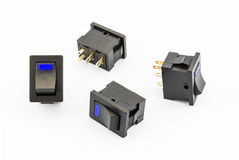Blue Rocker Switches with Build-in LED Royalty Free Stock Images