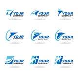 Blue rocket or airplane logo vector set design vector illustration