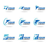 Blue rocket or airplane logo vector set design Royalty Free Stock Images
