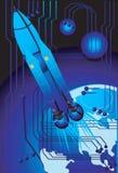 Blue rocket on a blue stock photography