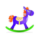 Blue rocking horse toy with red mane icon. Isolated on whute background Royalty Free Stock Photo