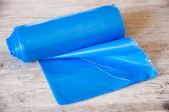 Blue roll of garbage bags Royalty Free Stock Photos