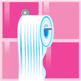 Blue roll of toilet paper Stock Images