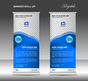 Blue Roll up banner stand template advertisement poster  Royalty Free Stock Image
