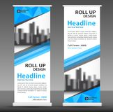 Blue roll up banner template. Business banner layout. stand out. royalty free illustration