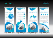 Blue Roll Up Banner template and infographics, stand design stock illustration