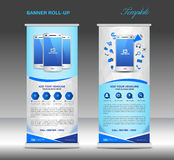 Blue Roll up banner  template and Mobile infographics, stand dis Stock Images