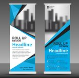 Blue Roll up banner template. poster. pull up. vector illustration