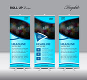 Blue Roll Up Banner template, stand template design ,banner temp. Late,roll up display,advertisement,layout design Stock Image