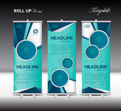 Blue Roll Up Banner template vector illustration polygon backgro Stock Photos