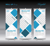 Blue Roll Up Banner template vector illustration polygon backgro Royalty Free Stock Photos