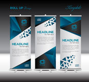 Blue Roll Up Banner Template Vector Illustration Polygon Background Royalty Free Stock Images