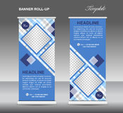 Blue Roll up banner template vector, roll up stand, display Royalty Free Stock Photos