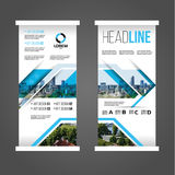 Blue roll up banner. Vector illustration of blue roll up banner. stylish geometric graphics for Publicity and Information. set of templates. Design concept stock illustration