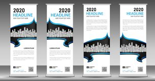 Blue roll up business banner design vertical template vector, pull up, web banner, display, stand layout, advertisement stock illustration