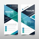 Blue roll up business brochure flyer banner design. Cover presentation abstract geometric background, modern publication x-banner and flag-banner, layout in Royalty Free Stock Photography