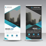 Blue roll up business brochure flyer banner design , cover presentation abstract geometric background, modern publication x-banner. And flag-banner, layout in stock illustration