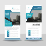 Blue roll up business brochure flyer banner design , cover presentation abstract geometric background, modern publication x-banner Royalty Free Stock Photos