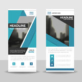 Blue roll up business brochure flyer banner design , cover presentation abstract geometric background, modern publication x-banner Stock Images
