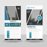 Blue roll up business brochure flyer banner design , cover presentation abstract geometric background, modern publication x-banner Stock Image