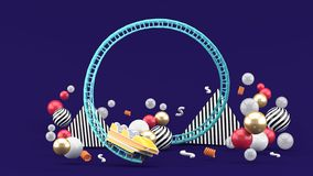 A blue roller coaster among colorful balls on a purple background vector illustration