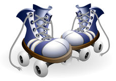 Blue roller skates with untied lace Stock Image
