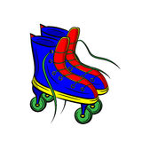 Blue roller skates with untied lace on white background Royalty Free Stock Photography
