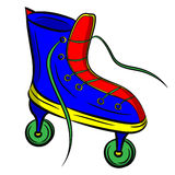Blue roller skates with untied lace on white background Royalty Free Stock Photo