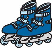 Blue Rollerblades Royalty Free Stock Image