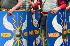 Blue Roman shields Stock Image