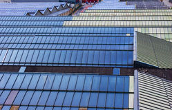 Blue Roof. Roof of a train station showing the patterns of the windows royalty free stock images
