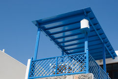 Blue roof balcony in Greece Stock Photography