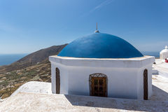 Blue roof of church and Panoramic view to Santorini island Royalty Free Stock Photography