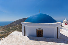 Blue roof of church and Panoramic view to Santorini island, Thira, Greece. Blue roof of church and Panoramic view to Santorini island, Thira, Cyclades, Greece Stock Photography