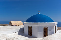 Blue roof of church and Panoramic view to Santorini island, Thira, Greece Stock Photography