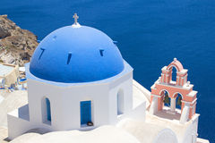 Blue roof church on Santorini island, Greece Stock Photo
