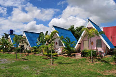 Blue roof house. stock photo